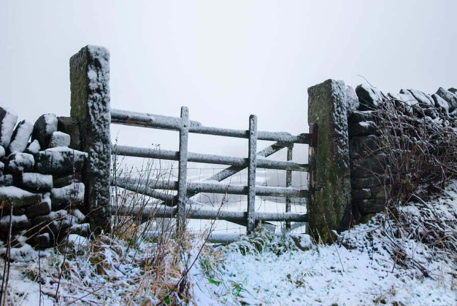 Gate to a field in Yorkshire in a snowdrift