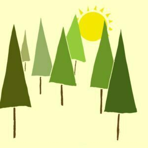 Stylised trees in the forest against a yellow background and the sun between the trees