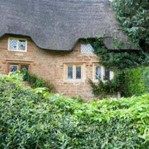 Thatch roof on a country cottage in the Cotswolds in England