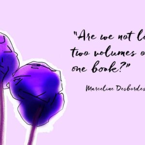 """Two purple cyclamen flowers and a quotation """"Are we not like two volumes of one book?"""" by Marceline Desbordes Valmore"""