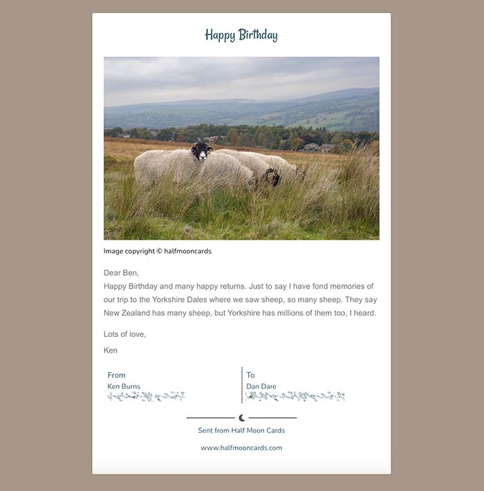 Black-face sheep on a hillside in the Yorkshire Dales against a light coffee background Illustrating a Half Moon Cards ecard